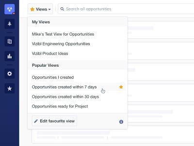 Vizibl Reworked Saved Views web blue search popup dropdown favorite star edit popular view saved platform b2b vizibl