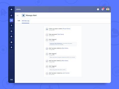 Vizibl - New Activity Log actions b2b web app web design notifications timeline feed log activity