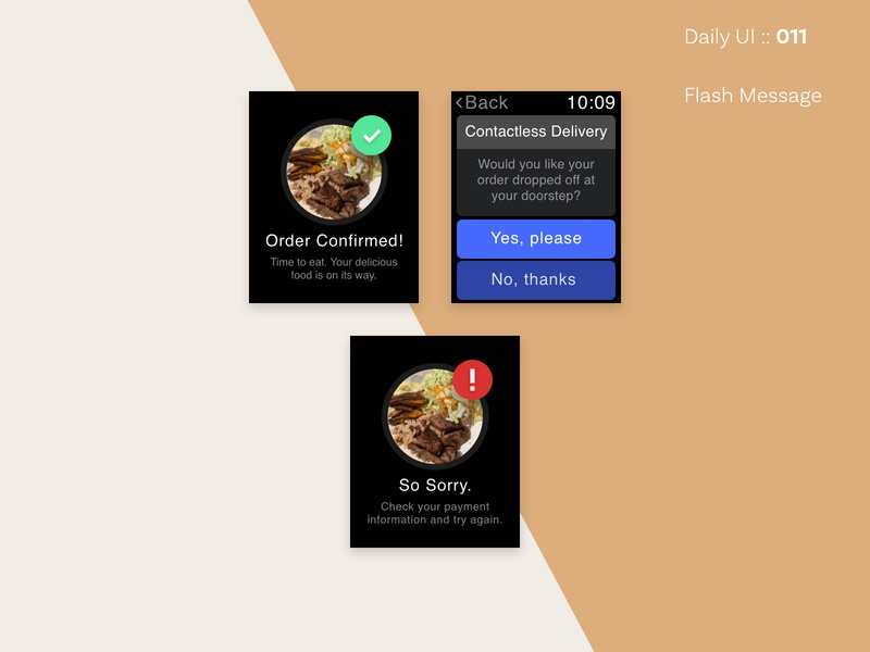 DailyUI :: 011 / FlashMessage contactless food order flash message daily 100 challenge daily ui 011 dailyui