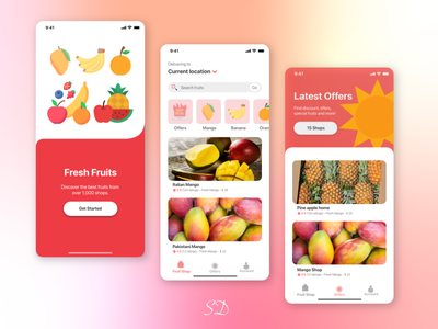 Fresh Fruit ecommerce fruit app app ux ui design