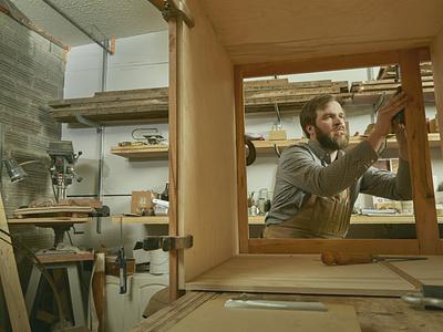 Timbersmith small business logomark midcentury furniture maker woodworking typogaphy logo brand identity