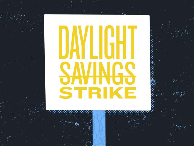 Daylight Savings Strike thought experiment fun typography procreate warm up