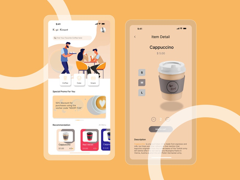 Coffe Shop Kinant add to cart game coffe coffee coffee shop mobile app mobile app design