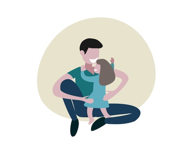 father and daughter illustraion parenthood parent baby girl childhood childrens illustration child happy family papa fathers day father fathersday