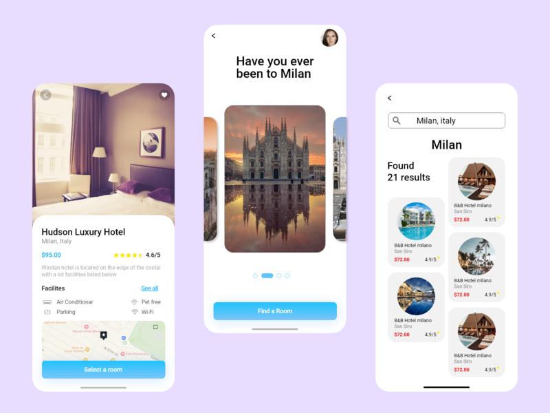 W-Hotel App art typography web icon ux ui design branding app