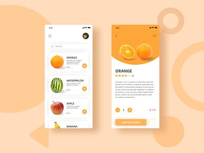 一款在线购买各种水果的APP typography design app ui uiux