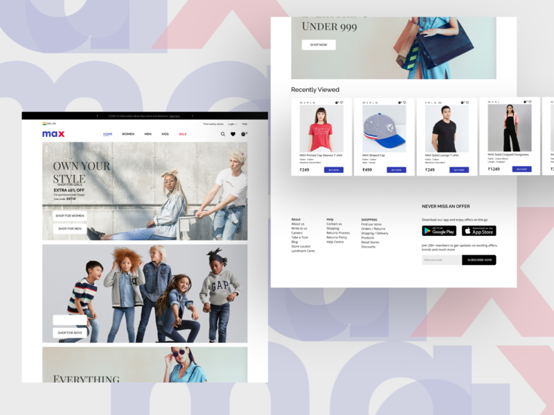 E-commerce website design figma