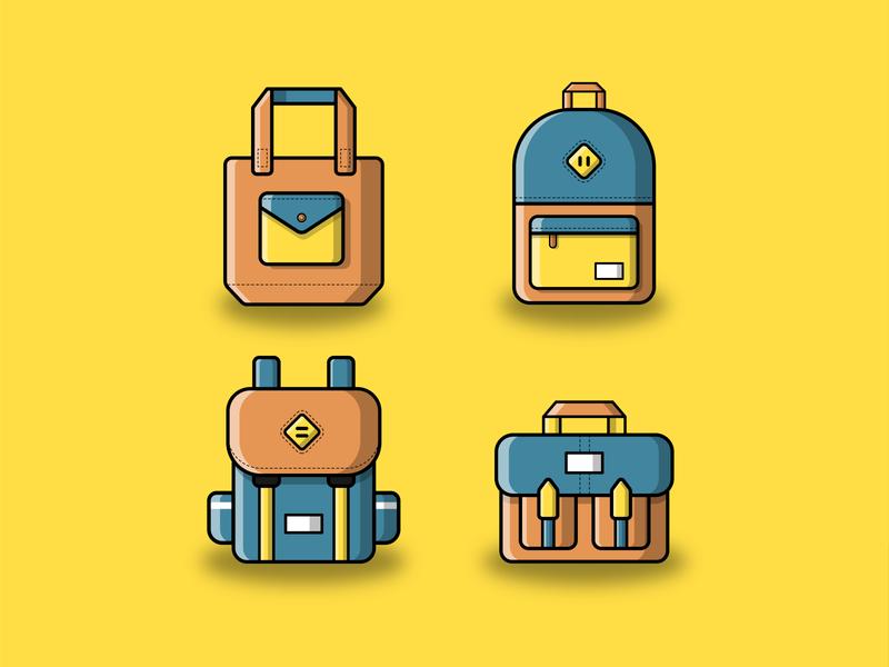 Bag Vector Icon Set icon set bag design yellow icon design tote bag totebag design flat icon icons illustration illustrator vectorart vector backpack bag bags