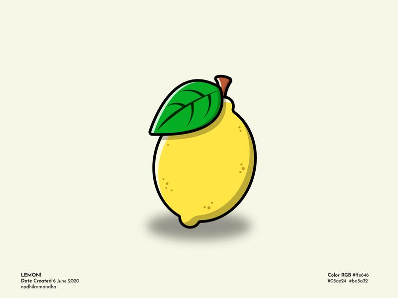 Lemon! yellow fruits fruit leafs leaf lemonade lemons lemon highlight shadow detail icon design logo icon branding illustration vector design illustrator