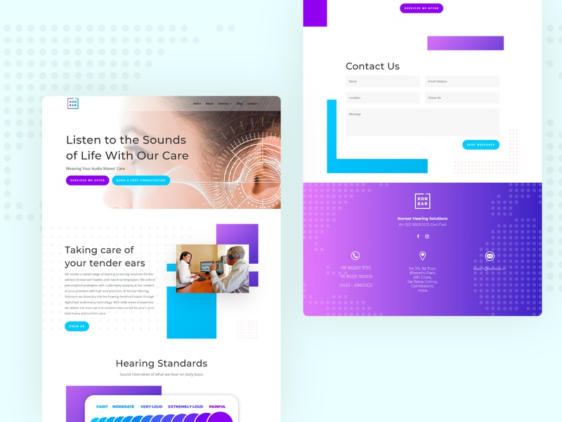 A conversion based website for ear care. Sounds of Life! website services vibrant interactive design web vector modern design designs illustrations conversion ux design website design ui design