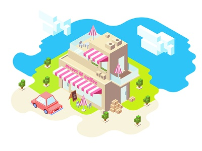Sweet & Coffee iso vector game city town building isometric