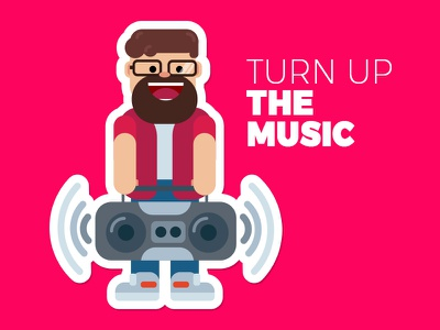 Turn up the music doodleart doodle madeforfun funcolors illustration feszczuk.com slyflux feszczuk designevryday design 365