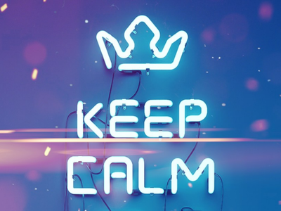 KEEP CALM typography neon 3d sign logo
