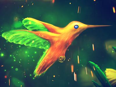 Fairy Hummingbird fairy hummingbird bird red green iskry stars daffodils flowers drops bokeh fairy hummingbird