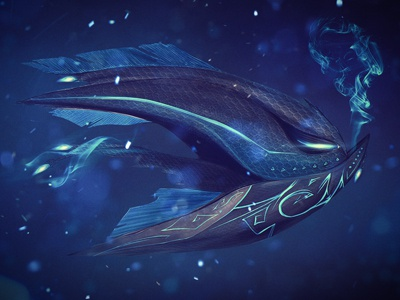 Atlantis Flame drawing illustration painting fish atlantis falme blue atlantis flame