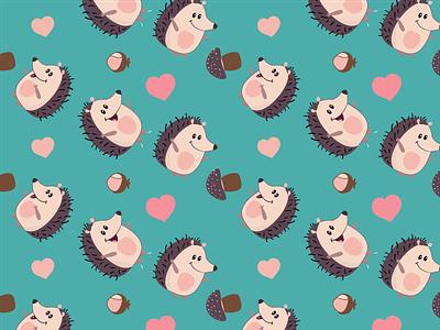 Hedgehogs pattern animal pattern cute animals ежик kids design cartoon character friends ai illustration print children kids illustration mushrooms pattern art pattern