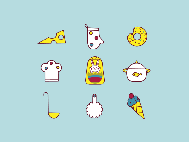 Kitchen icons food icon sweets rabbit colorful icons food app minimalism logo design line vector icons branding illustration cooking kitchenware food kitchen icon set ai
