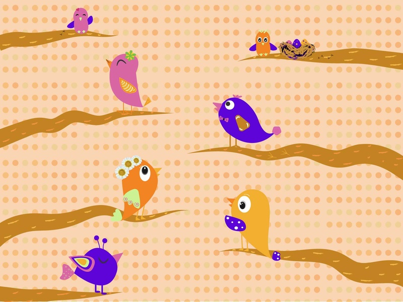 Birds in the garden stickers chick trees treehouse love cartoon print illustration patterns pattern art kids illustration nature birdie bird illustration family tree family garden birds