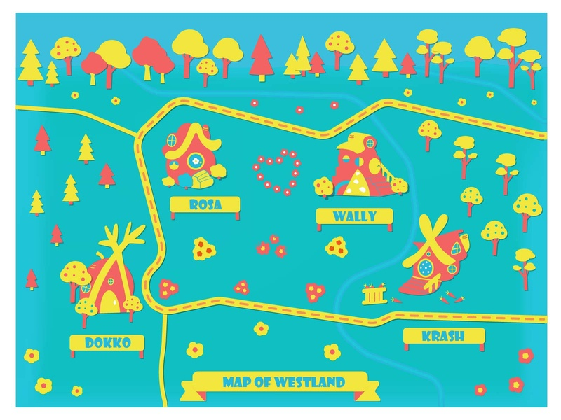 Map of Westland kikoriki tree house postcard design card design kids app map house illustration kids book west lodge houses green yellow adobe illustrator nature kids art illustration kids illustration cartoon print