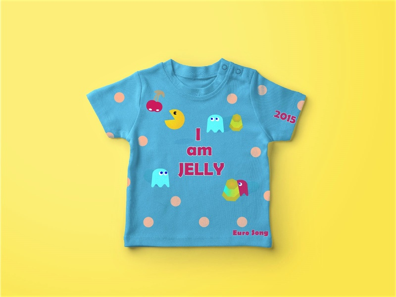 Euro Song junior 2015 graphic tee song eurovision music kids art branding vector kids illustration print ai pacman jelly t-shirt design t-shirt mockup mock-up mockup dribbbleweeklywarmup illustration