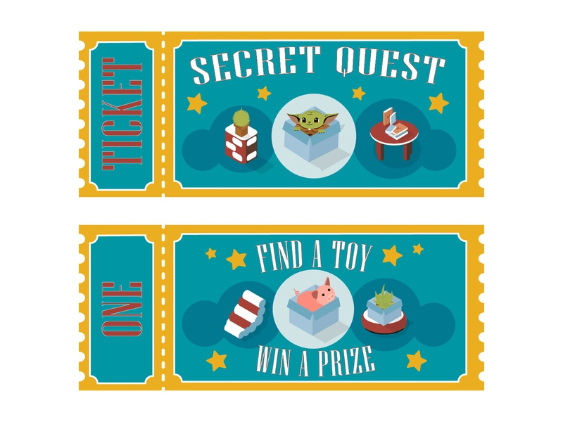 Quest Tickets isometry isometric illustration furniture ticket design secret toy design branding ticket prize boxes pig yoda quest amusement amusement park adobe illustrator kids illustration print illustration dribbbleweeklywarmup