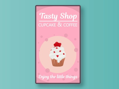 Tasty Shop Ads cake food illustration caffee weekly warm-up pink ads design ads banner app tasty cupcake logo food app enjoy the moment cake shop weeklywarmup adobe photoshop branding print illustration ads