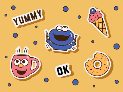 Branded sticker pack kids menu food illustration yummy menu yummy sticker pack cafe restaurant branding print warmup dribbbleweeklywarmup sticker design sticker branding adobe illustrator vector logo illustration