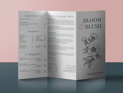 Bloom & Blush print design print price list design price list logo design logo graphic design design branding brand design