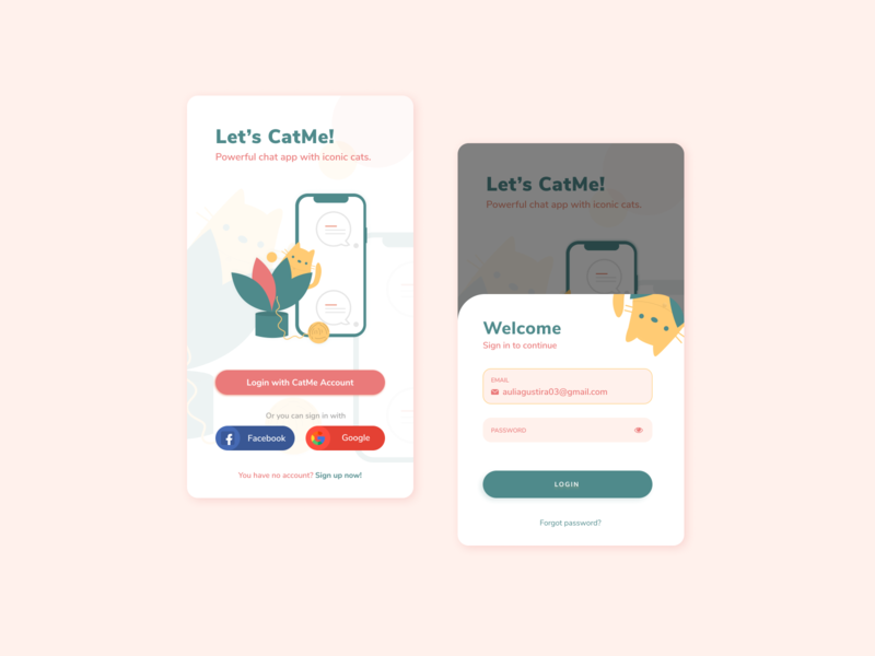 Login Screen by CatMe App ux pink cute animal splash login screen login flat app ui