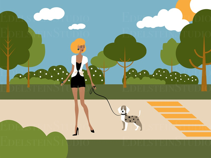 The Young Girl Walks a Dog in Urban Park vector illustration painting vector print flat digital art illustrator illustration design art