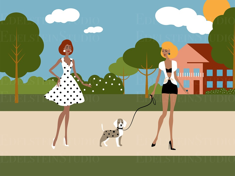 The Young Women Walk a Dog in City Park cartoon painting print flat vector illustration vector digital art illustrator illustration design art