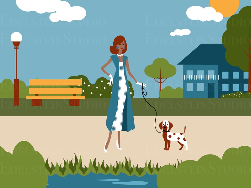 The Fashion Woman is Walking a Dog in City Park vector vector illustration cartoon flat print digital art illustrator illustration design art