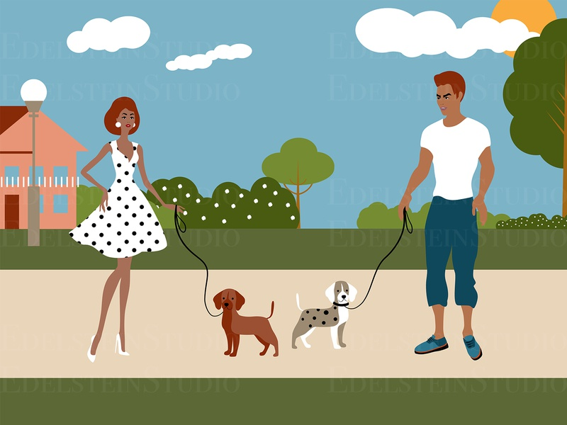 The Couple is Walking Dogs in Park Illustration flat cartoon vector illustration vector print digital art illustrator illustration design art