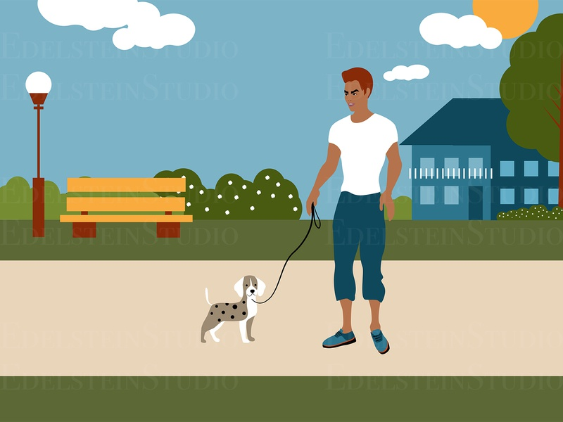 The Man is Walking a Dog in City Park Illustration print cartoon vector illustration vector flat digital art illustrator illustration design art