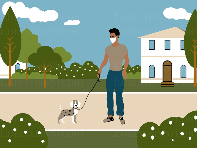The Man is Walking a Dog in Park at Quarantine cartoon vector illustration vector print flat digital art illustrator illustration design art