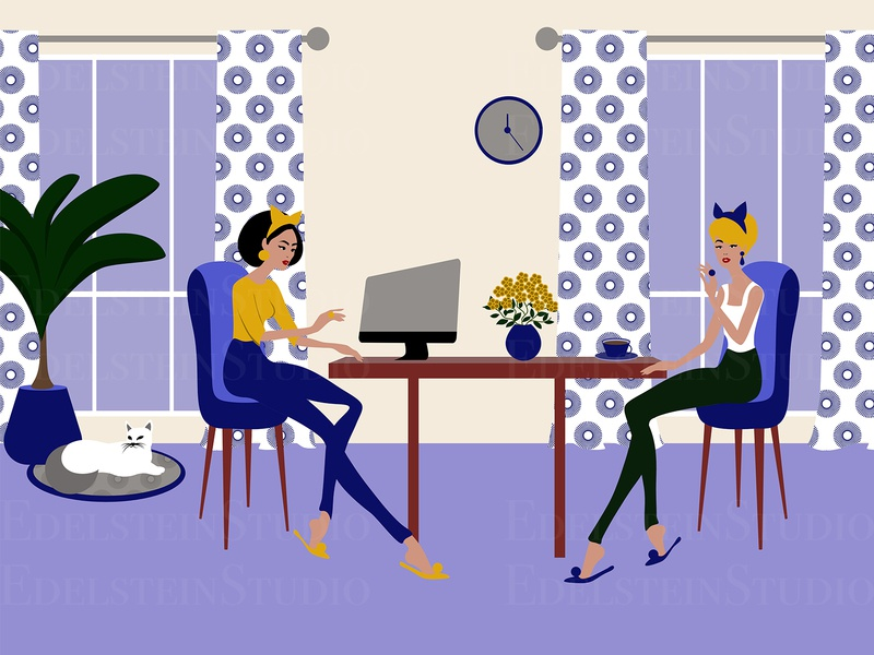 The Young Women are Working at Home Office with a Cat flat print cartoon vector illustration vector digital art illustrator illustration design art