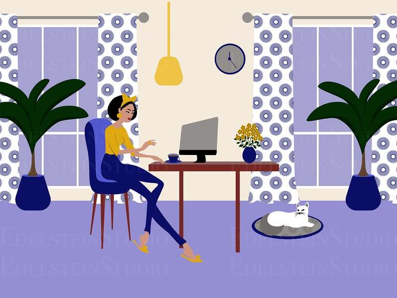 The Young Woman is Working at Home Office with a Cat I flat painting print design art cartoon vector illustration vector digital art illustrator illustration