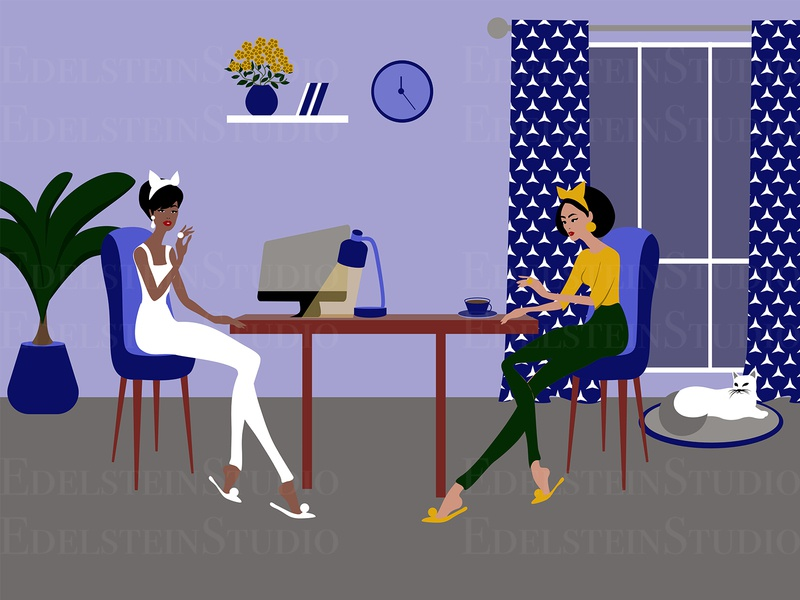 The Girls are Working at Home Office with a Cat at Night painting cartoon print vector illustration vector flat digital art illustrator illustration design art