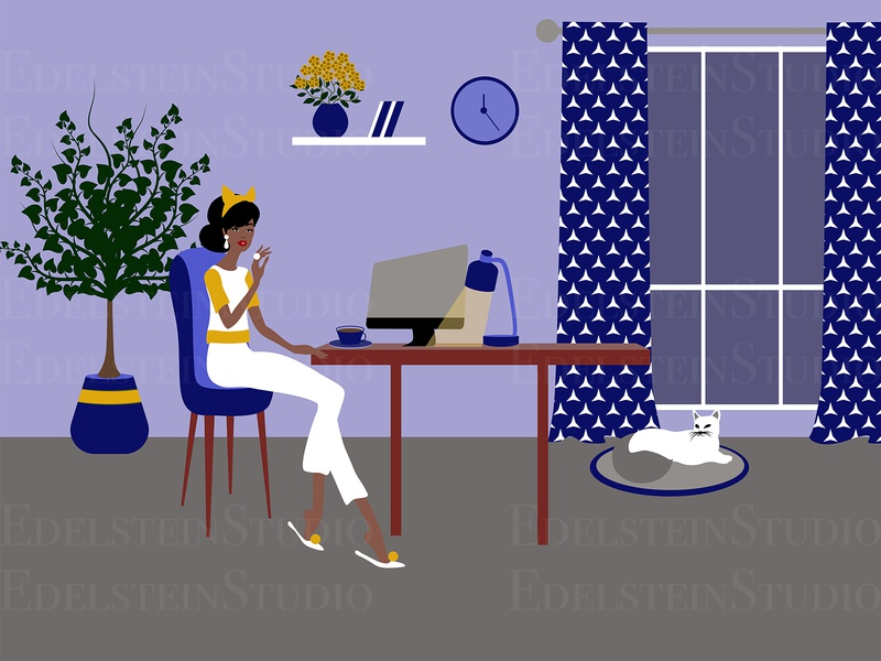 The Girl is Working at Home Office with a Cat at Night painting flat print digital art illustrator cartoon vector vector illustration illustration design art