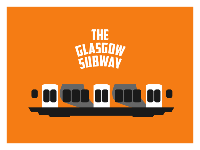 Glasgow Subway poster carriage negative space transportation scotland glasgow subway underground transport travel train illustration