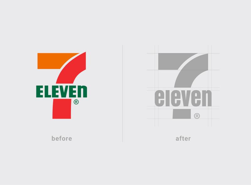 7Eleven (Lowercase) conceptual illustrator identity rebranding typography branding logo design vector