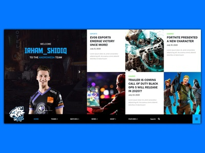 Esports - Home esports webdesign ux design uidesign ux ui javascript bootstrap css html