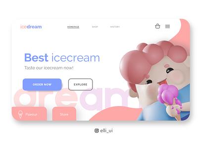 Ice dream ❤️ adobe adobexd blender3d blender user experience userinterface uidesigns characterdesign 3dcharacter 3d ui  ux ui web ux uidesign