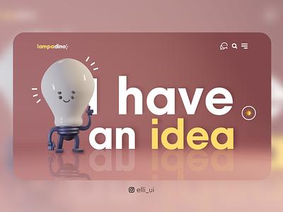 Lampadino 💡 design art designs funny uidesigninspiration uiinspirations uiinspiration inspiration3d inspiration characters adobexd uidesign user experience characterdesign blender 3d ui web ux design
