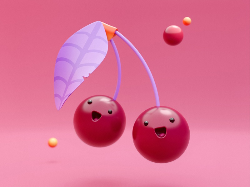 You're cherry special! 🍒 cherry simple minimal illustration design fun creative emoji cute food blender 3d 3d artwork 3d art blendercycles blender3dart blender3d blender artwork character 3d