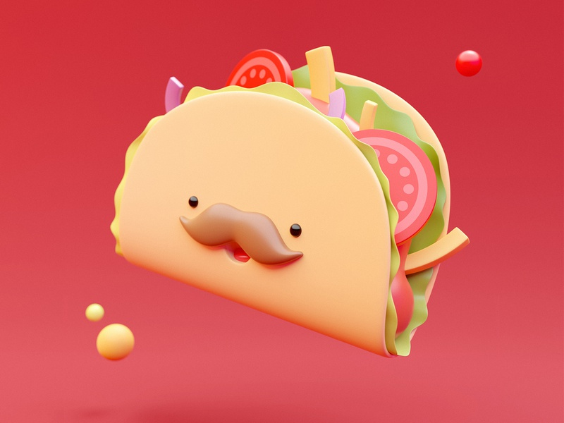 You're the salsa of my taco! 🌮 tacos kawaii character design characterdesign simple happy taco cute rebound food design illustration emoji cute food 3d artwork 3d art blendercycles blender3d blender 3d