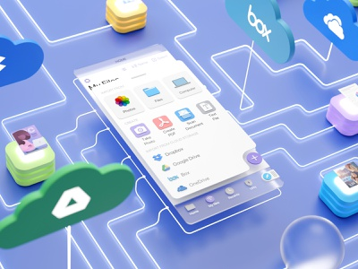 Stay in sync 📲 with all your files 🗂 neumorphism ui neumorphism neumorphic blender 3d 3d 3d art blender3d blender server cloud web connection actions productivity ipad iphone ios app documents readdle