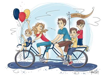 Family illustration family digitalart cartoon illustration portrait illustration