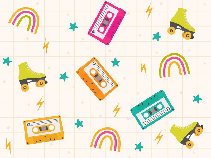 Retro pattern roller cassette retro design pattern retro illustration