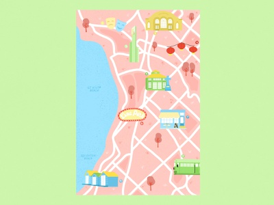 Map of Melbourne - 1/100 pastel colors illustrated map illustration city map melbourne australia
